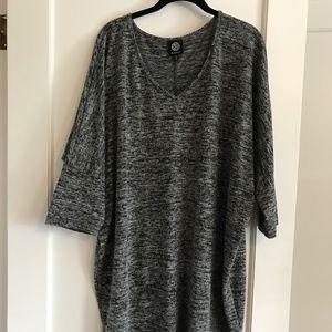 Bobeau Grey Marled Cocoon Sweater Dress